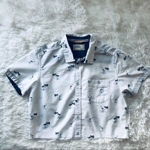 Free Planet Cropped Button Up Raw Hem